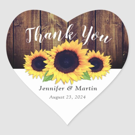 Rustic Wood Sunflower Wedding Favor Stickers