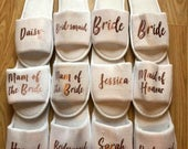 Personalised slippers, bridal party, bridesmaid, bride to be