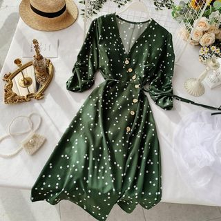 Dotted Elbow-Sleeve Midi A-line Wrap Dress