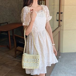 Floral Lace Short-Sleeve Dress / Maxi Dress