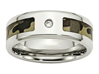 Chisel Stainless Steel Polished W/ CZ Printed Brown Camo Under Rubber Weeding Band