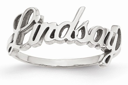 Cursive Style Name Ring in Sterling Silver