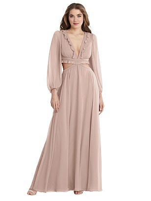 Special Order Bishop Sleeve Ruffled Chiffon Cutout Maxi Dress - Harlow