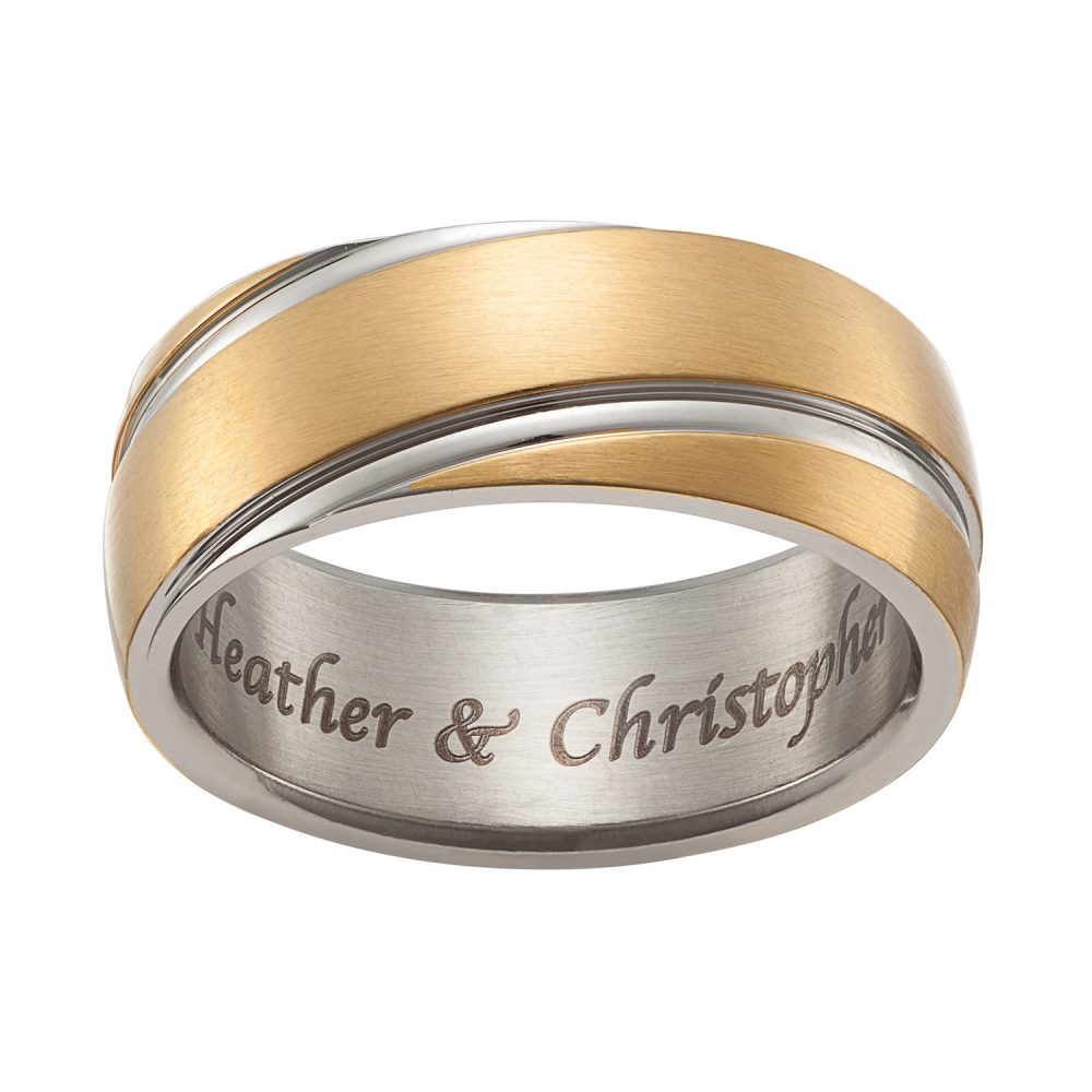 Stainless Steel Engraved Gold & Silver Band