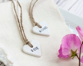 Personalised Clay Heart Place Tags, Wedding Favour/Favor Tags Rustic, Vintage, Shabby Chic, Country Wedding Decor, Table Decoration
