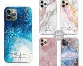 PERSONALISED phone case marble name glitter initial hard plastic phone case cover for apple iphone 5 5s 6 7 8 11 Pro Xs XR Xs MAX