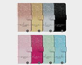 Personalised Initials Custom Wallet Leather Phone Case Ombre Printed Glitter Sparkly Name Bling iPhone 11 5 5s SE 6 6s 7 8 Plus X Xr Xs Max
