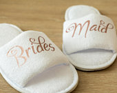 Bridesmaid Slippers Personalised Wedding Slippers Bride, Bridesmaid Gift, Bridal Party , Hen Weekend Open Toes Spa Slippers 28 colours