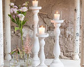 3 x White Spindle Candle Holders Wedding Venue Decoration Wedding Table Centrepiece Set of 3 Shabby Chic Vintage Wedding Rustic