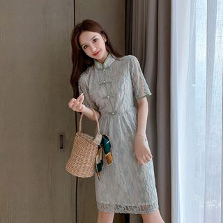 Mandarin Collar Short-Sleeve Mini A-Line Lace Dress