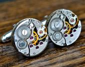 Wedding Cufflinks, Watch Movement 16mm Cufflinks Steampunk Vintage, Groom Gift, Steampunk Cuff Links Groomsmen Gifts Watch Cufflinks