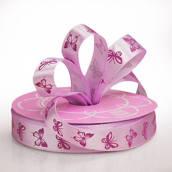 """5/8"""" X 25 Yards Polyester Purple/Lavender Butterfly Satin Ribbon by Ribbons.com"""