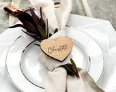 Personalised Wedding Place Names, Wooden Heart Place Setting, Wood Place Name, Wedding Favours, Wedding Table Decor, Rustic Wedding Seating