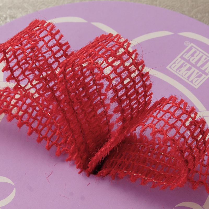 "7/8"" X 25 Yards Mesh Red Wired Burlap Ribbon by Ribbons.com"