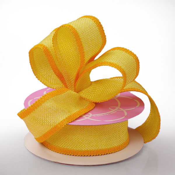 "1 1/2"" X 10 Yards Mesh Yellow Side Stitch Burlap Ribbon by Ribbons.com"