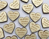 Wooden Love Heart Table Decorations Personalised Wedding Favours Confetti Mr Mrs Valentines Day