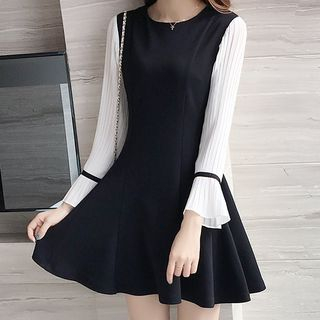 Long-Sleeve A-Line Mini Dress