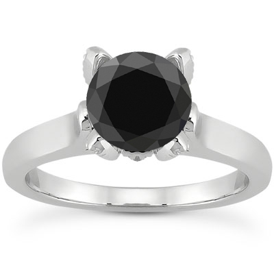 0.61 Carat Black and White Diamond Accent Solitaire Engagement Ring