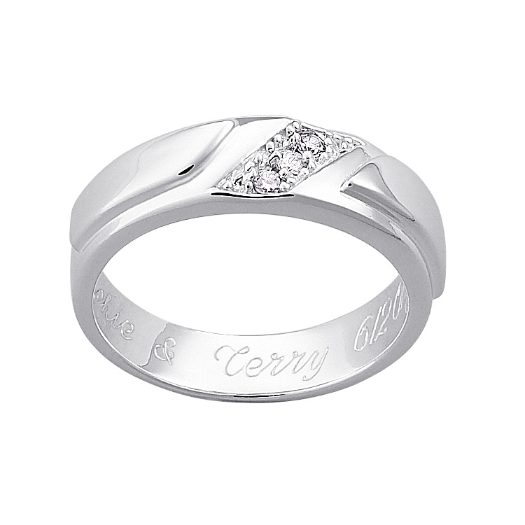 Sterling Silver Ladies CZ Engraved Wedding Band