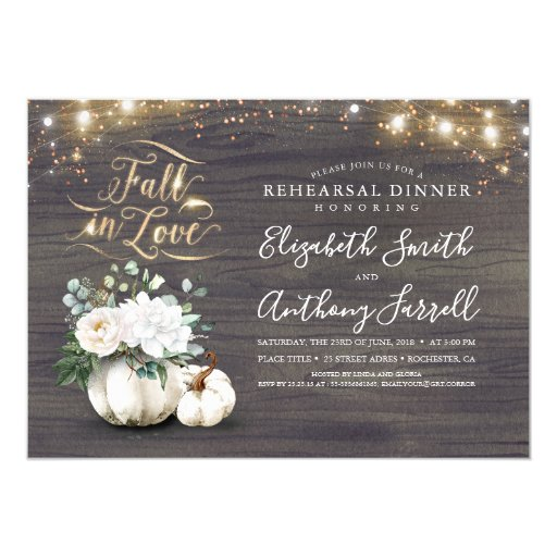 Fall in Love White Pumpkin Rustic Rehearsal Dinner Invitation