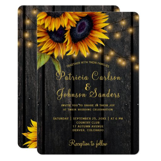 Rustic lights sunflower barn wood wedding Invitation