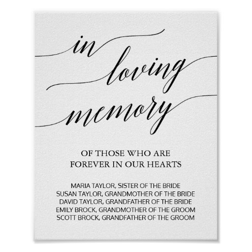 Elegant Black Calligraphy In Loving Memory Sign