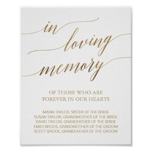 Elegant Gold Calligraphy In Loving Memory Sign