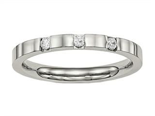 Chisel Stainless Steel Polished 3 Stone CZ 2.50mm Weeding Band
