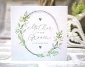 Personalised mother / parents of the groom card. Rustic, greenery, botanical, country floral card. Mother of the Bride or Groom print gift.