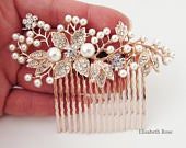 Decorative Rose Gold Wedding Hair Comb, Crystal Hair Comb for Wedding, Rose Gold Bridal Hair Comb, Wedding Day Hair Comb, Hair Jewelry