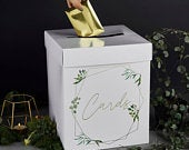 Gold Wedding Cards Post Box, Wedding Cards Box, Wedding Supplies, Rustic Wedding Decorations, White Gold Script Post Box, Gold Wedding