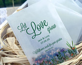 Ecofriendly glassine wedding favour seed bags Different sizes Let love grow biodegradable favour bags