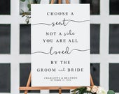 Choose A Seat Not A Side, Calligraphy Wedding Sign, DIY Wedding Sign Template, Custom Wedding Sign, Printable Wedding Sign, INSTANT DOWNLOAD