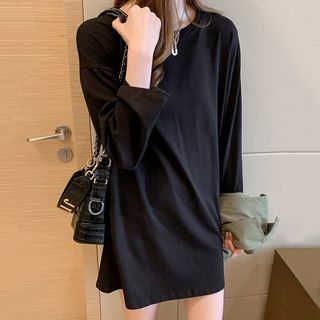 Long-Sleeve Crew-Neck T-Shirt Dress