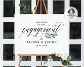 Engagement Party Welcome Sign, Engagement Party Decorations, Personalized Engagement Sign, Printable Welcome Sign Template A1