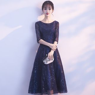 Lace Panel 3/4-Sleeve A-line Party Dress / Evening Gown