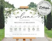 Greenery Wedding Timeline Sign Template, Wedding Day Schedule Sign Template INSTANT DOWNLOAD Editable, Printable Template, A107