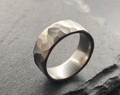 Faceted Stainless Steel Ring 8mm Industrial Rough Hammered Band Ring Geometric Minimalist Mens or Ladies Sizes Handmade in the UK
