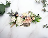 Blush and Ivory Hair Comb, Bridal Hair Comb, Flower Hair Comb