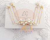 Bridal Pearl Small Hair Comb Four Pin Set Gold Gift Boxed Wedding Accessory Bride Prom Bridesmaid Hairpiece Gift Boxed Vine Tiara