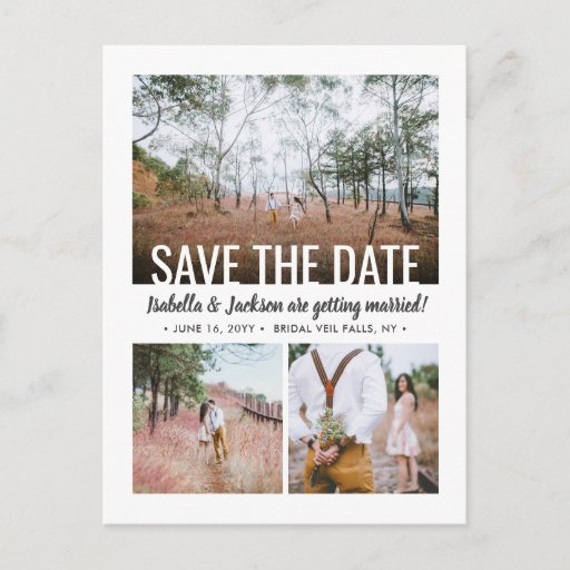 4 Photo Modern Typography Wedding Save the Date Announcement Postcard
