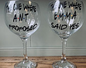 Set of two personalised the one where glasses. Engagement gift