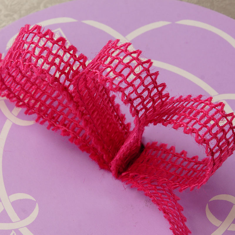 "7/8"" X 25 Yards Mesh Hot Pink Wired Burlap Ribbon by Ribbons.com"