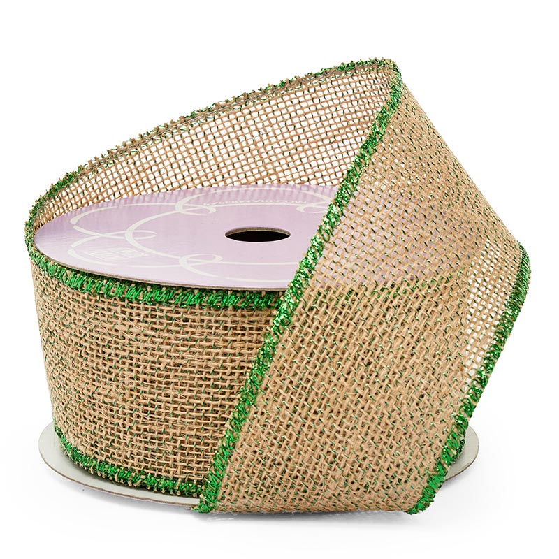 "2 1/2"" X 10 Yards Metallic Mesh Emerald/Natural Iridescent Burlap Ribbon by Ribbons.com"