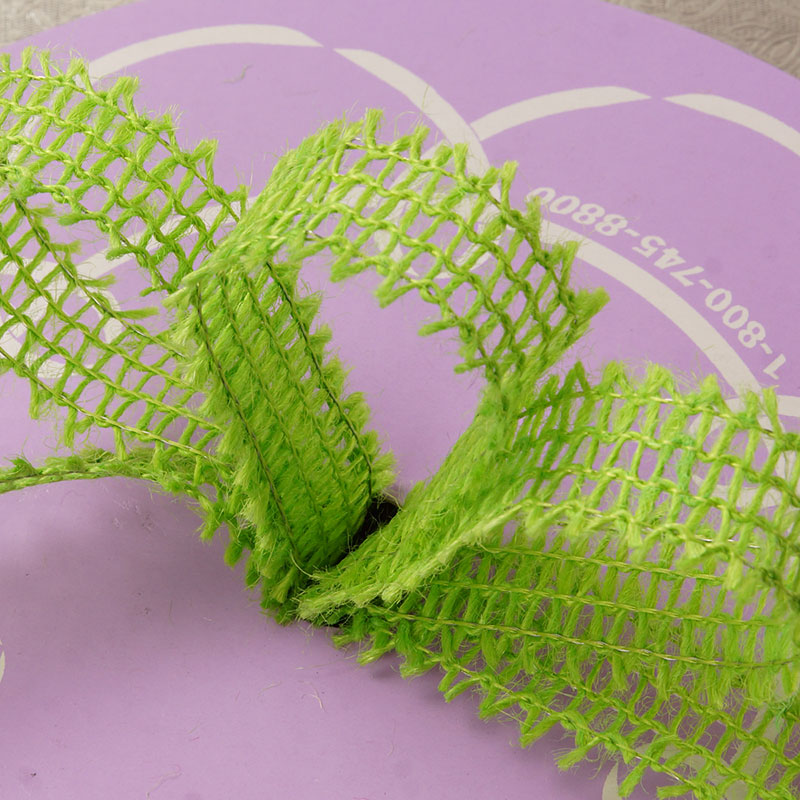 """7/8"""" X 25 Yards Mesh Lime Wired Burlap Ribbon by Ribbons.com"""