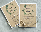 Handmade A6 personalised Rustic brown Evening or Daytime country wedding Invitations with wooden heart detail and wreath