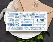 Fun Modern Wedding Invitation / Banner Day Bright Typographic Wedding Invite / Country Fair / Cobalt Blue / Or Custom Colours / ONE SAMPLE