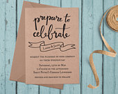 Eco Friendly Hand Lettered Kraft Paper Wedding Invitation Set Sample Banner Design for Rustic, Boho and Informal Country or Barn Wedding