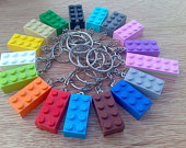 Coulourful Brick Key Rings Lego Party Bag Wedding Favor Stocking Filler Use Around the Home Choose from 18 colours.