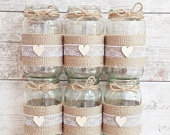12 wedding jars, baby shower, Hessian, burlap,white lace rustic centrepiece twine vase tealight country wedding table decor BRAND NEW